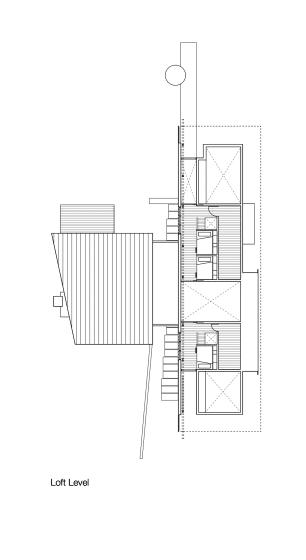 Plano de mezzanine de casa dividida en dos