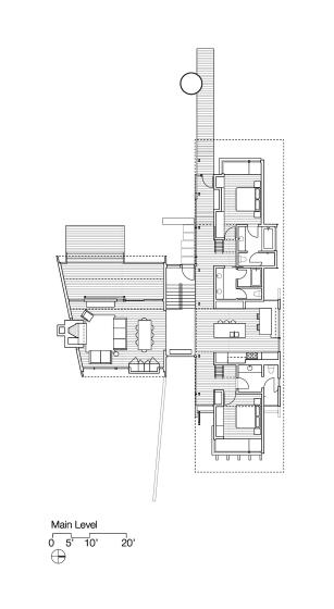 Plano de primer nivel de casa dividida en dos partes