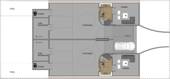 Plano de estacionamientos en el sótano de casa dividida en dos
