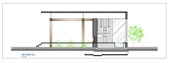 Plano de sección de casa pequeña CC