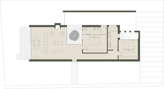 Plano de techos de casa de un piso con cerco perimétrico