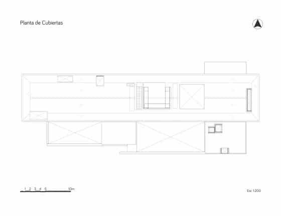Plano de la cubierta de la casa de campo