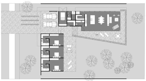Planos de casa de un piso en forma de L