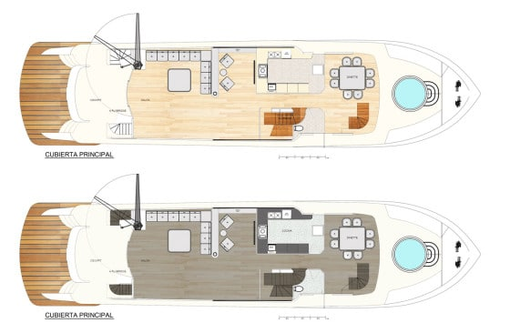 Planos de distribución de ambientes en barco