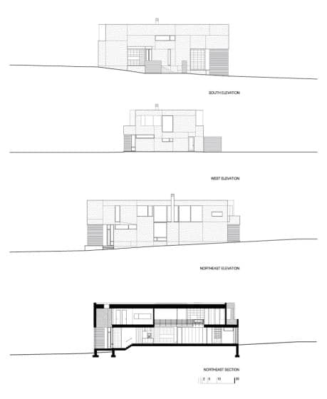 Planos de elevación casa terreno triangular