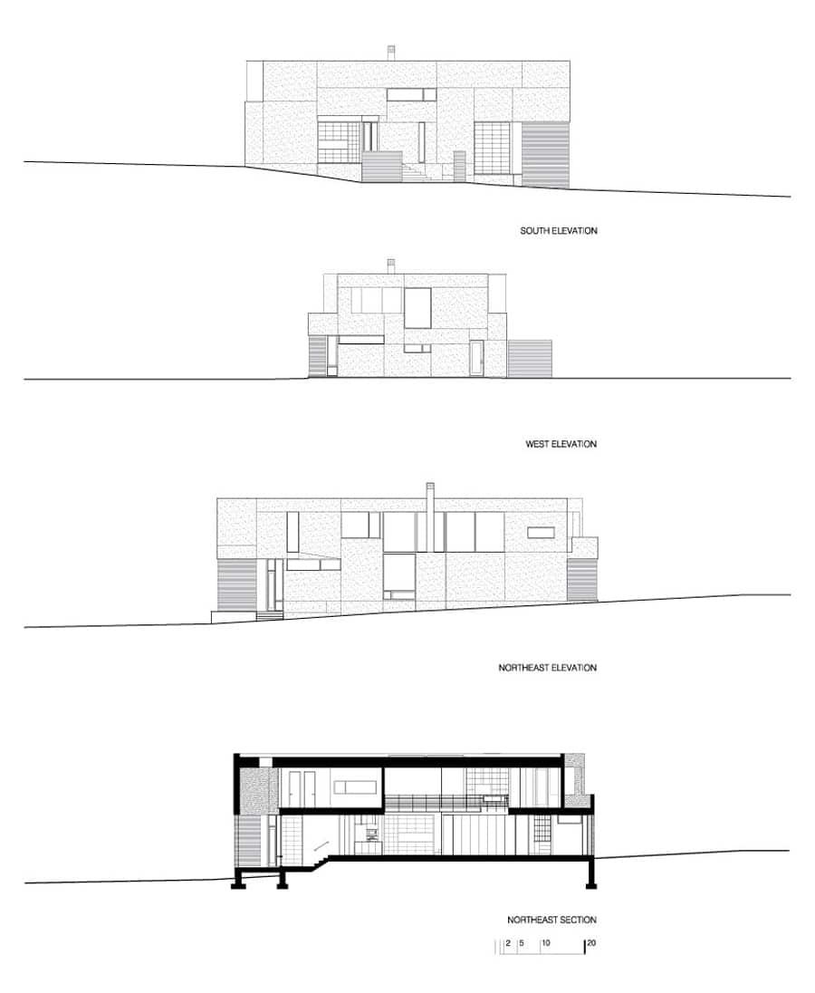 Planos de casa en terreno triangular fachada e interiores for Crear planos casas