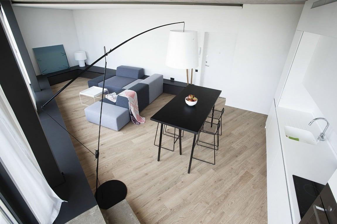 Dise o de casa peque a en terreno irregular planos for Diseno sala comedor cocina
