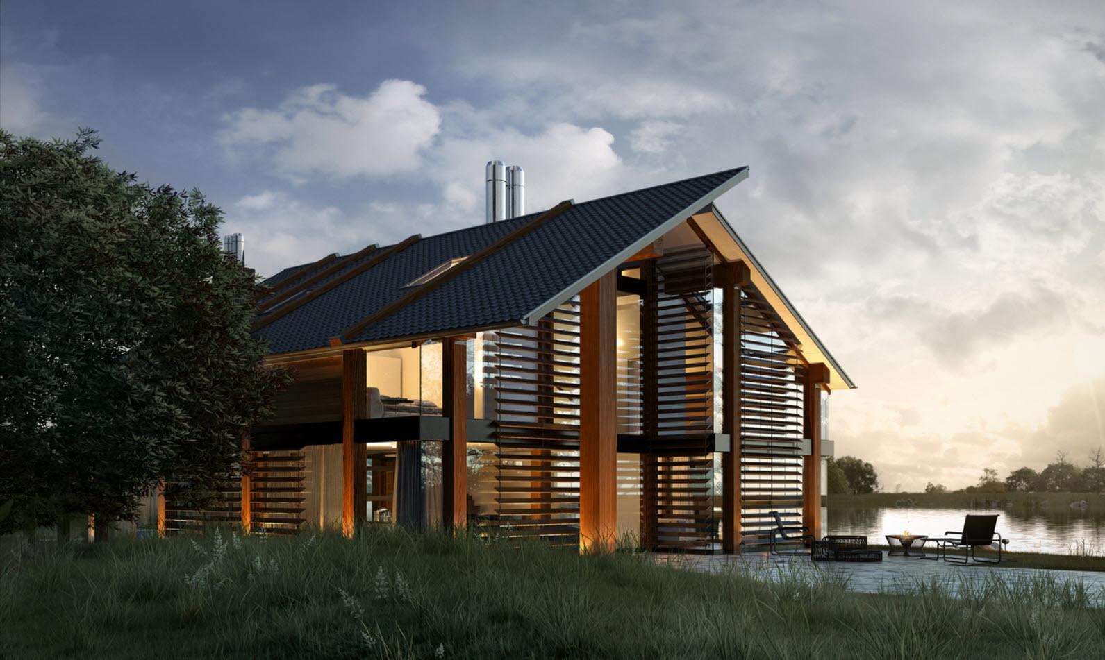 Dise o de casa de madera moderna hermosa fachada for Casas de madera de dos pisos