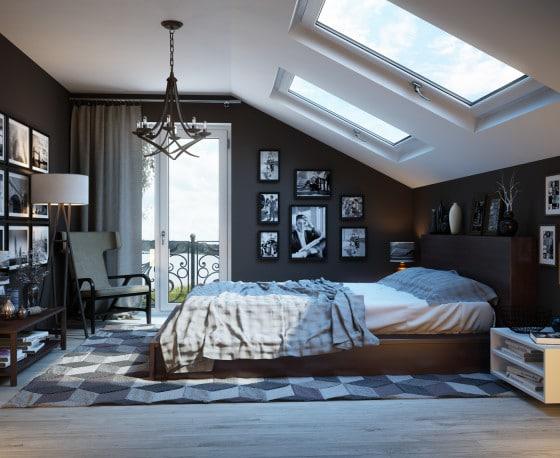 Decoración de dormitorio con techo inclinado y ventanas horizontales