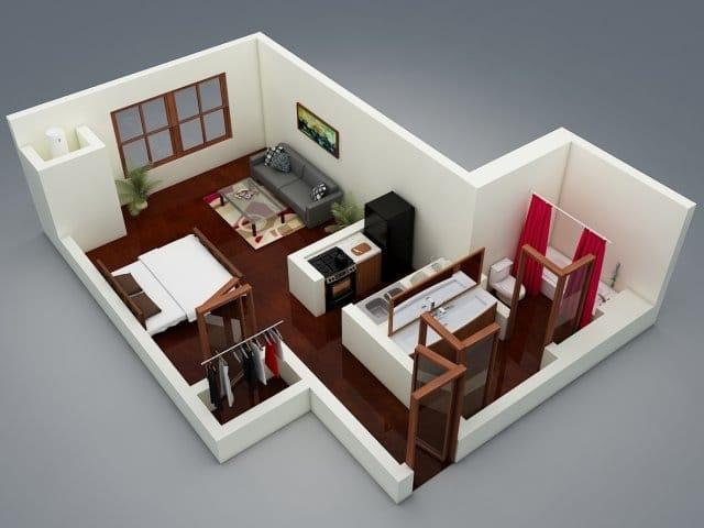 Planos de apartamentos peque os en 3d for Diseno de apartamento de una habitacion