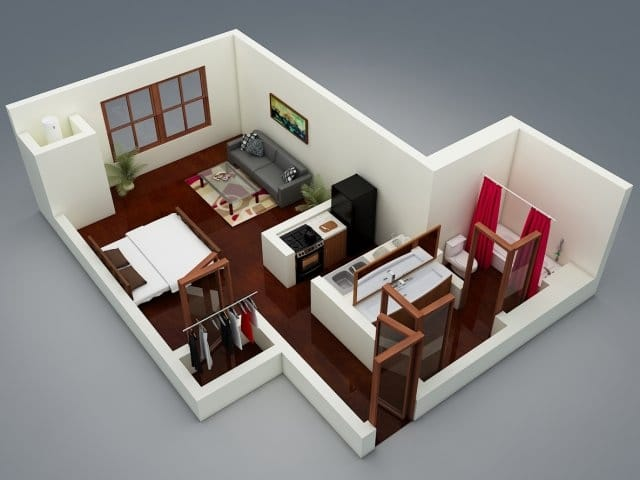 Planos de apartamentos peque os en 3d for Apartaestudios pequenos