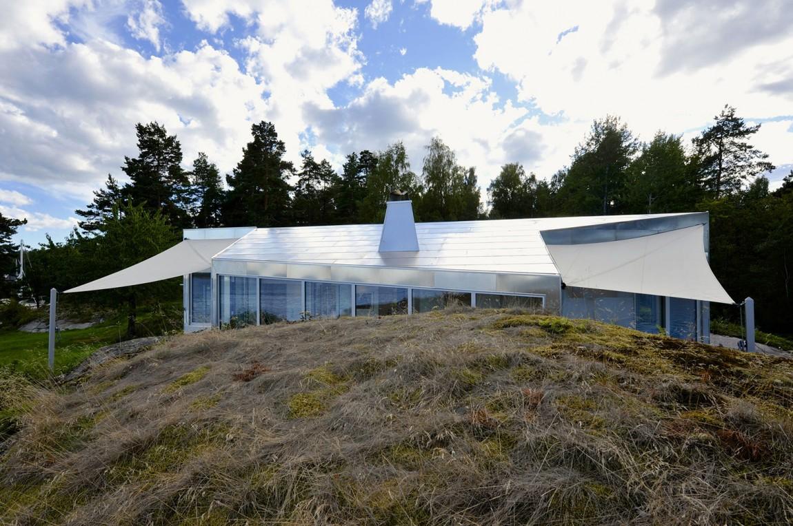 Dise o de moderna casa de metal de un piso m s planos for La casa tiene un techo