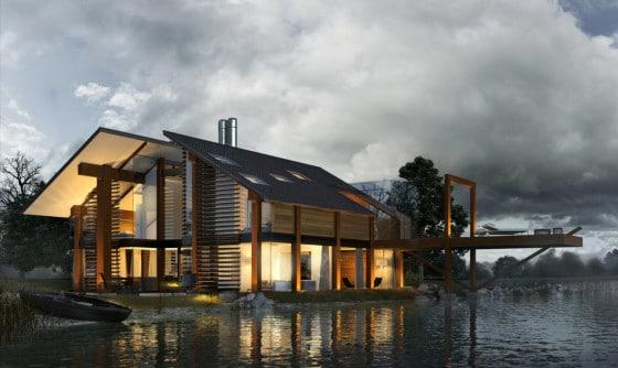 Diseño de casa de madera con techos dos aguas