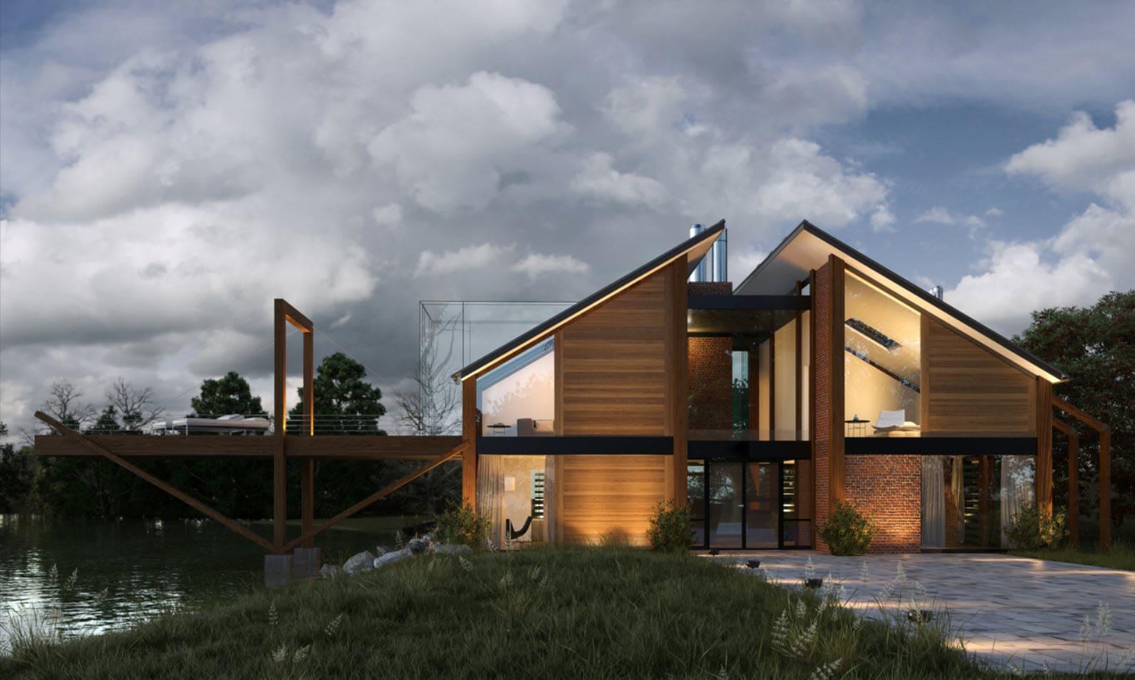 Dise o de casa de madera moderna hermosa fachada for Casa moderna ladrillo