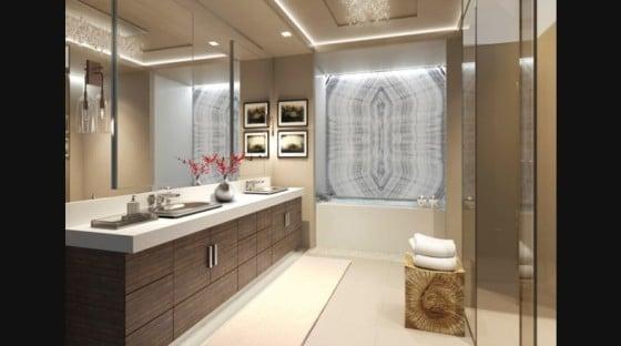 Diseño de cuarto de baño de lujo de color beige