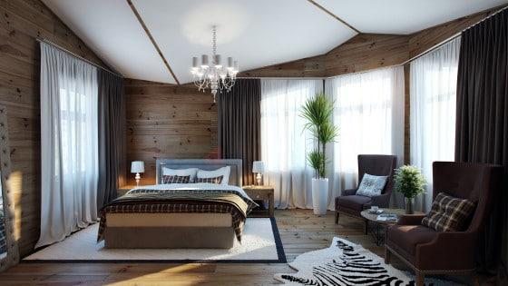 Diseño de dormitorio con paredes y piso de madera estilo clásico