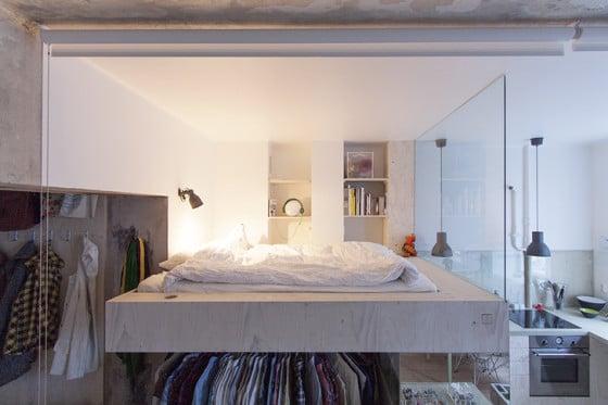 Diseño de dormitorio en el entrepiso  del mini apartamento