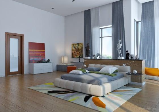 Diseño de dormitorio grande y moderno