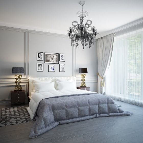 Diseño de dormitorio moderno con araña de luces