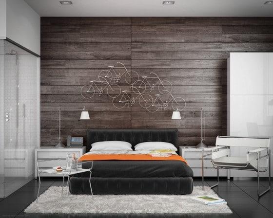 Diseño de dormitorio moderno con cuarto de baño