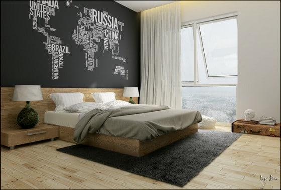 Diseño de dormitorio moderno con pared de letras