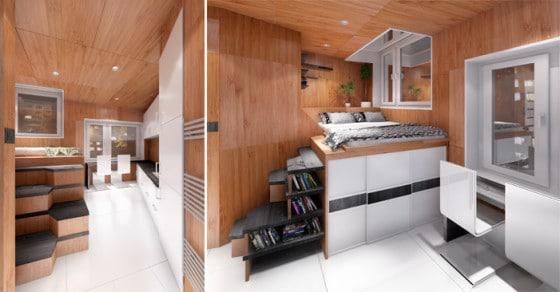 Diseño de interiores de casa triangulo