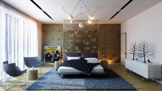 Diseño de moderno dormitorio con objetos decorativos y alfombra