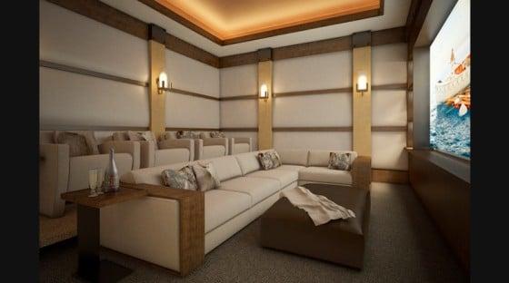 Diseño de salón multimedia de departamento de lujo