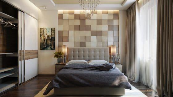 Diseño de dormitorio con pared de madera en cabecera de cama