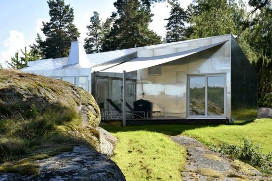 Vista de la terraza  de casa de aluminio