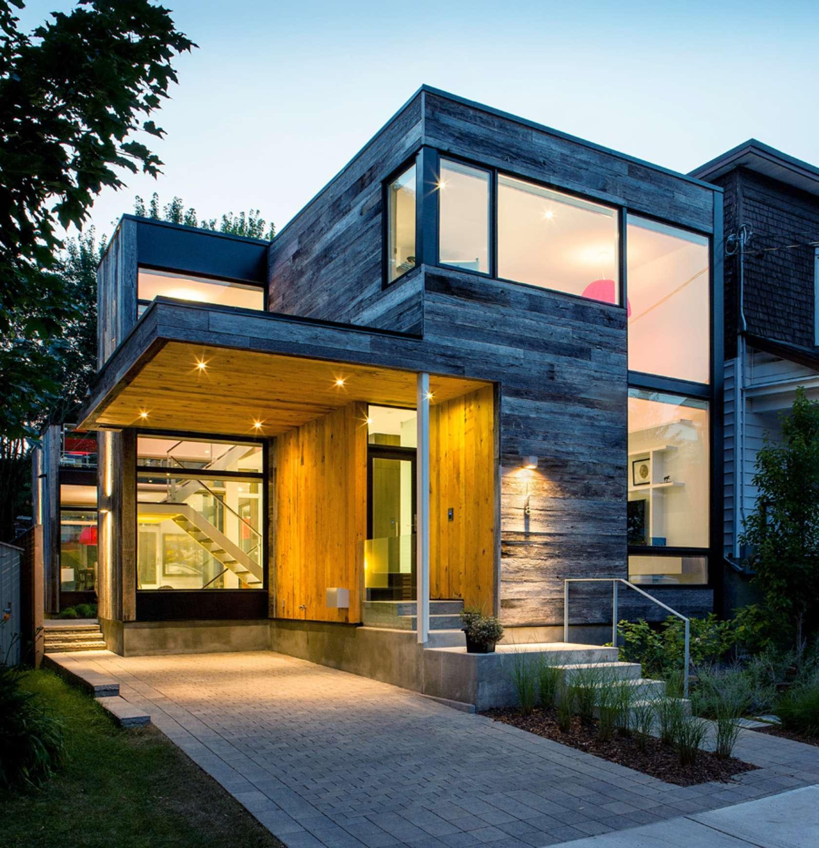 Dise o de casa de dos plantas en esquina fachada e for Fachada minimalista una planta