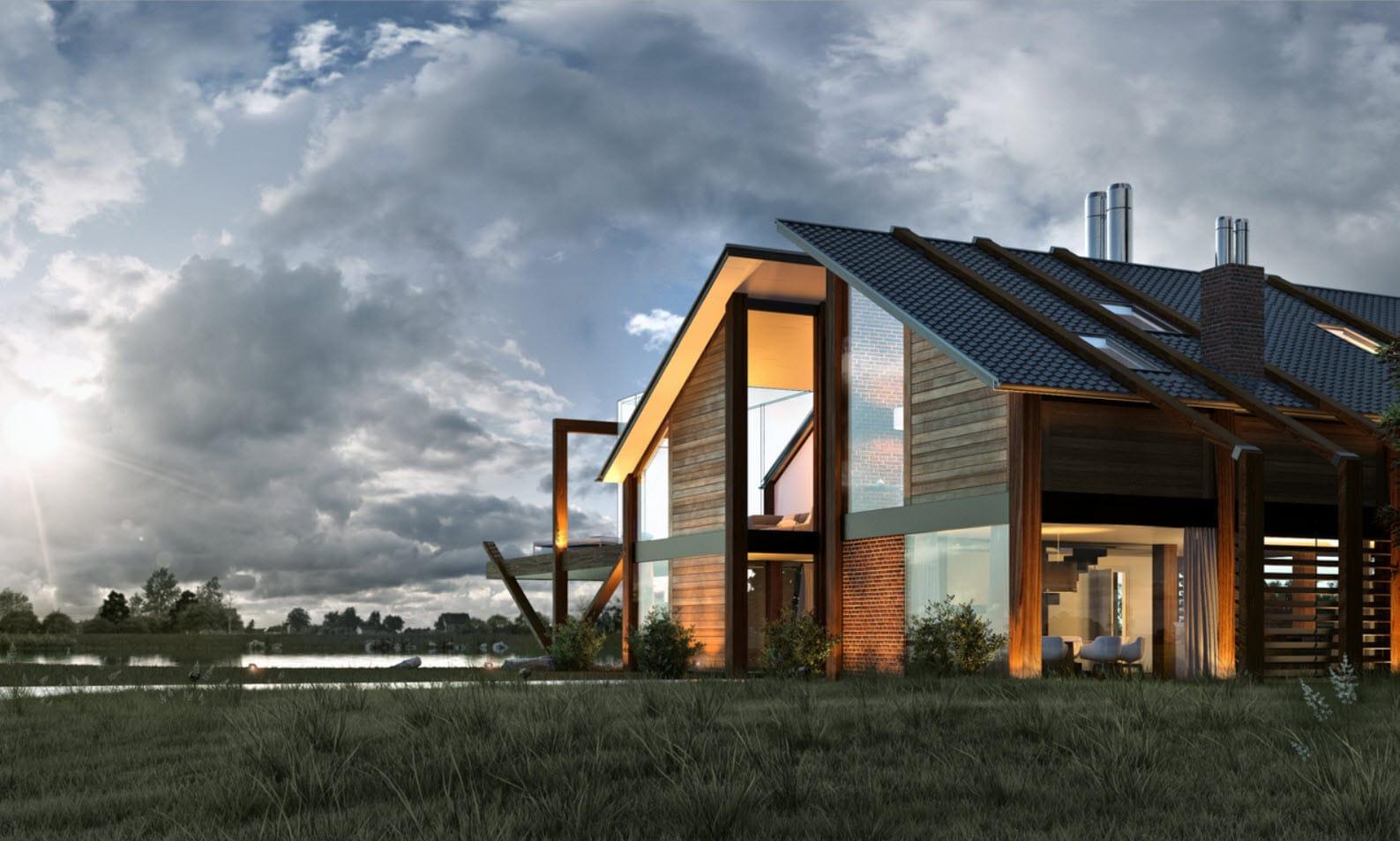 Dise o de casa de madera moderna hermosa fachada - Casas de madera prefabricadas modernas ...
