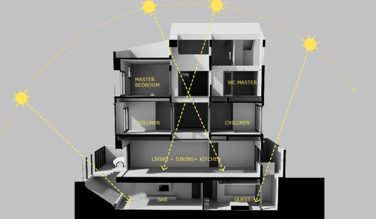Dise o de casa moderna de tres pisos planos y fachada - Maquetas de chalets ...