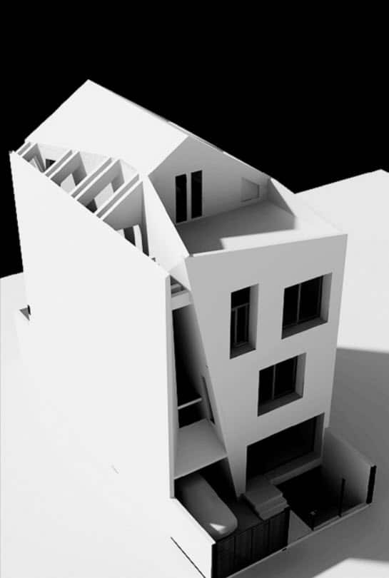Dise o de casa moderna de tres pisos planos y fachada for Casa minimalista tres pisos