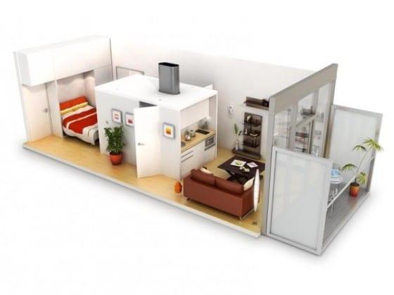 Plano apartamento de un dormitorio muy pequeño