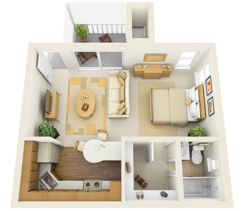 Muito Planos de apartamentos pequeños de un dormitorio, diseños  XR42