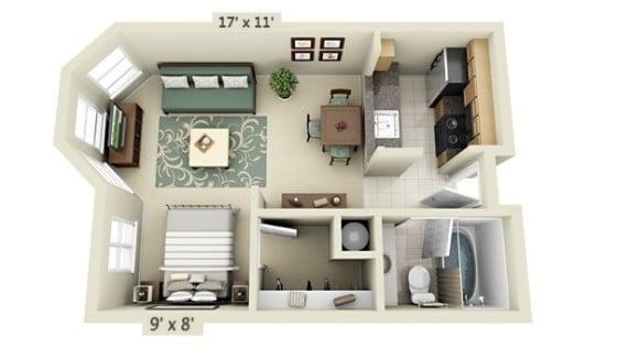 Plano de apartamento pequeño de un dormitorio