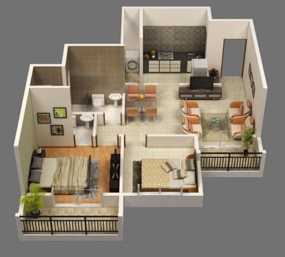 Plano de apartamento en 3D de dos dormitorios