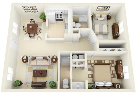 Plano de apartamento moderno cuadrado hecho en 3D