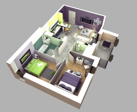 Plano de apartamento en 3D con diseño de interiores juvenil