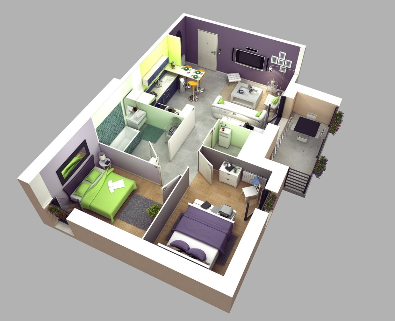 Planos de apartamentos en 3d dise os modernos for Planos apartamentos pequenos