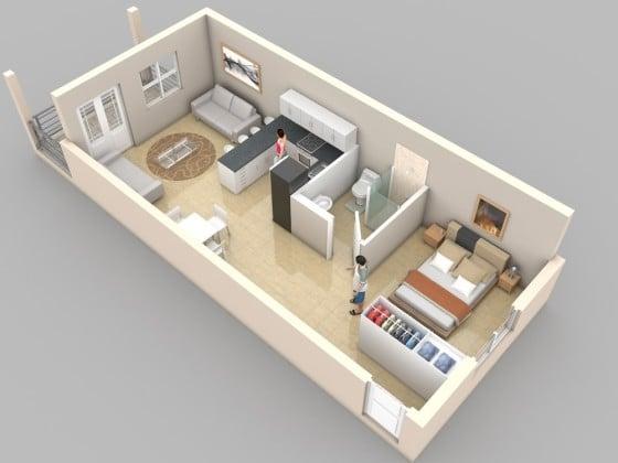 Plano de apartamento muy pequeño de un dormitorio
