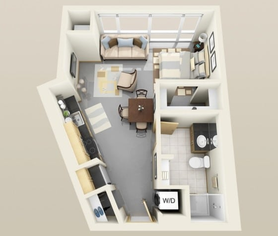 Plano de apartamento muy pequeño