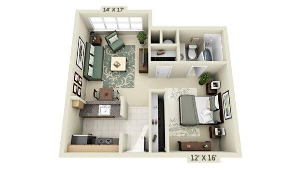 Planos De Apartamentos Peque 241 Os En 3d