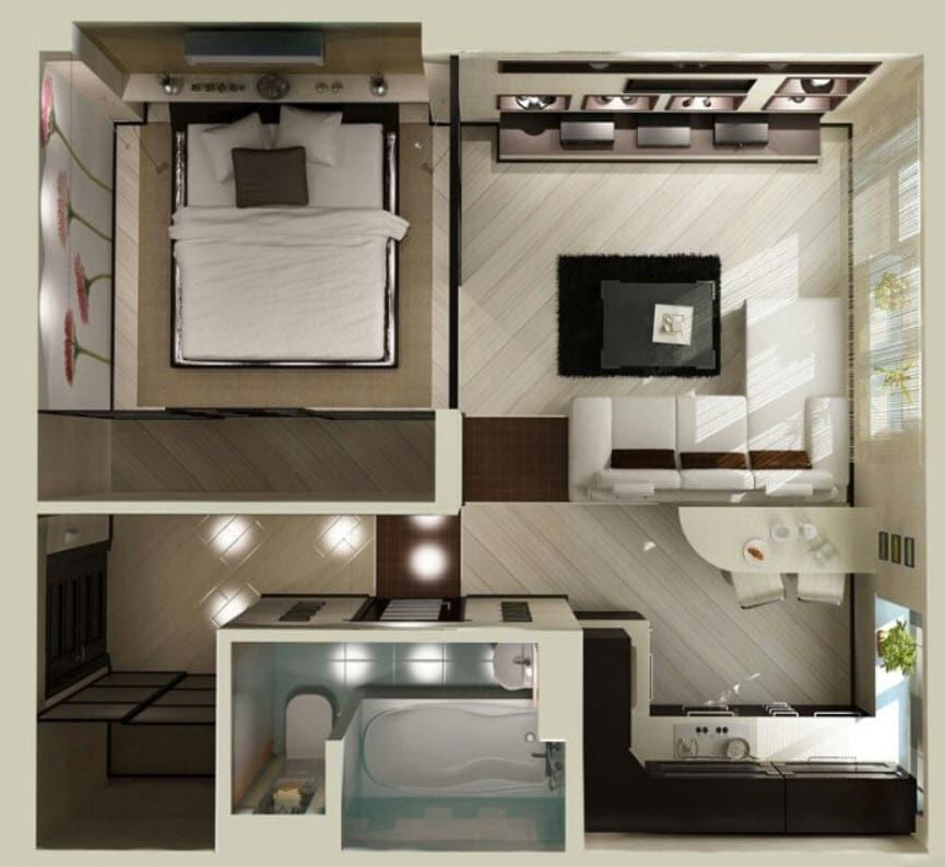 Planos de apartamentos peque os de un dormitorio dise os for Disenos de apartaestudios pequenos