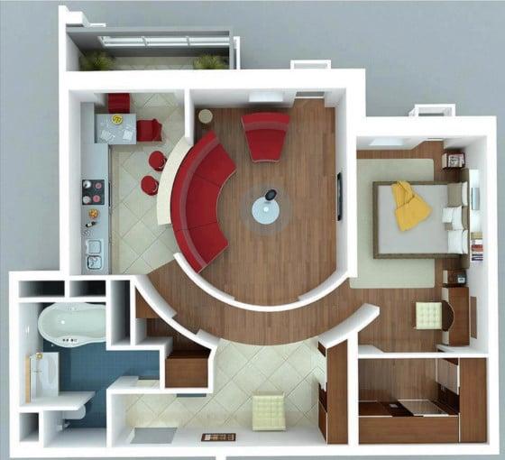 Plano de apartamento pequeño moderno de un dormitorio