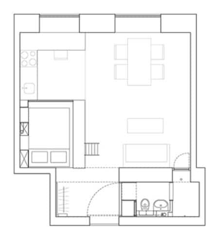 Dise o de planos de apartamento peque o de un dormitorio for Distribucion apartamentos pequenos