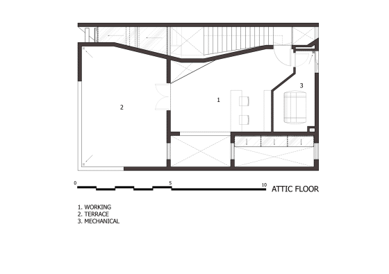Three-story house roof plan