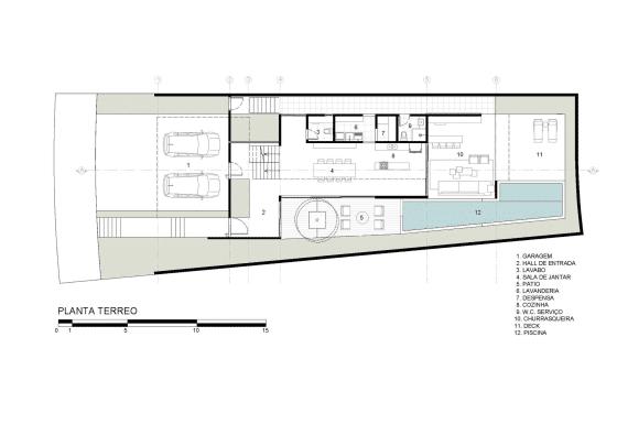 Plano de casa de dos pisos moderna, primera planta