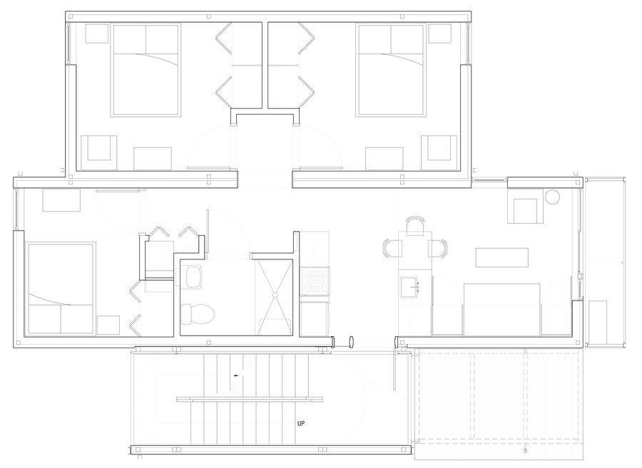 Dise o de casas modulares apilables planos e interiores for Diseno de oficinas pequenas planos